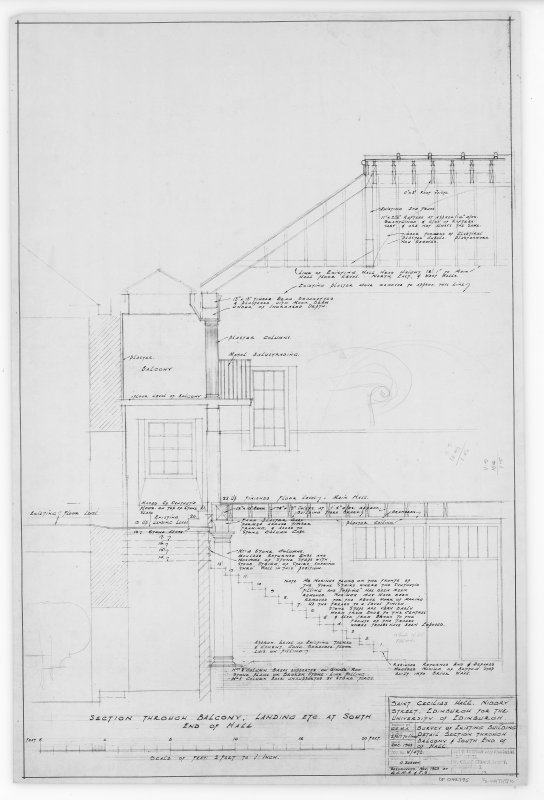 Survey of Existing Buildings, Detail Section through Balcony and South End of Hall.