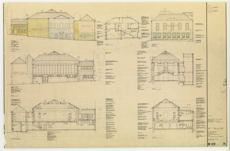 Scale Elevations and Sections, St Cecilia's Hall, Niddry Street, Edinburgh.