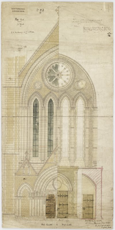 Edinburgh, Palmerston Place, St. Mary's Episcopal Cathedral. Digital copy of half elevation, half section, West end. Elevation of lobby half section of lobby with internal elevation of West door. Sign ...