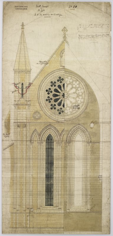 Edinburgh, Palmerston Place, St. Mary's Episcopal Cathedral. Digital copy of North transept, half section, half elevation. Signed: 'Sir G Gilbert Scott Archt. 31 Spring Gardens, Lond'