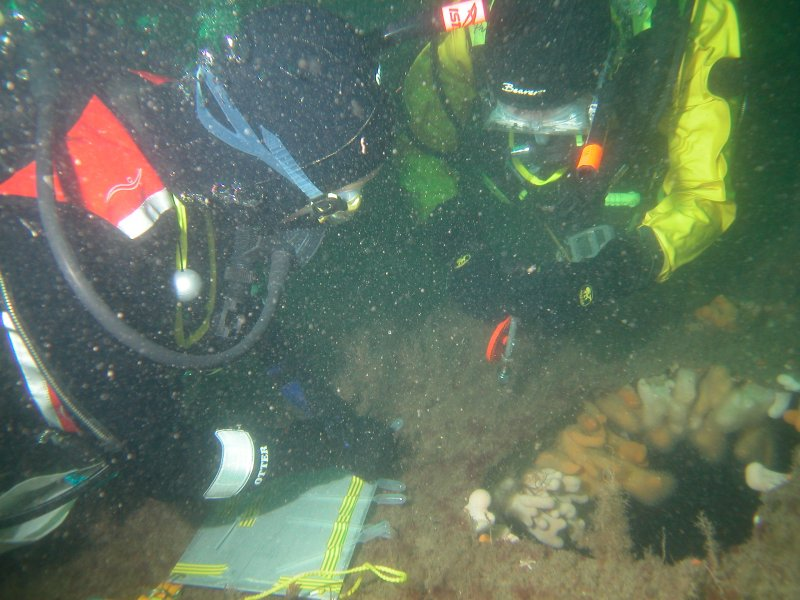 View of two divers from the Sound of Mull Archaeological Project surveying the wreck of the S.S. Thesis.