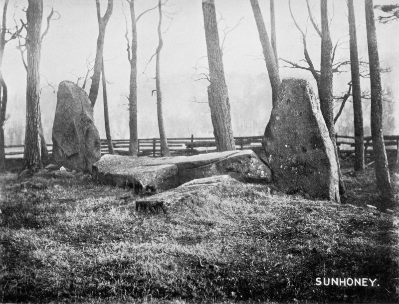 "View of recumbent stone circle from S.  Titled: ""Sin Hinny. Recumbent Stone and Flankers""."