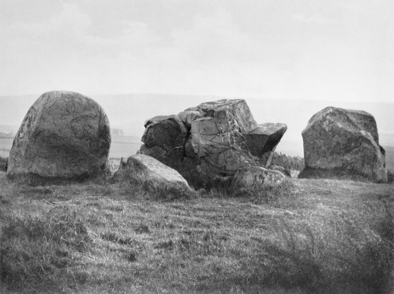 "View of recumbent stone circle from NE.  Titled: ""Ardlair. Recumbent Stone, Flankers and Props""."