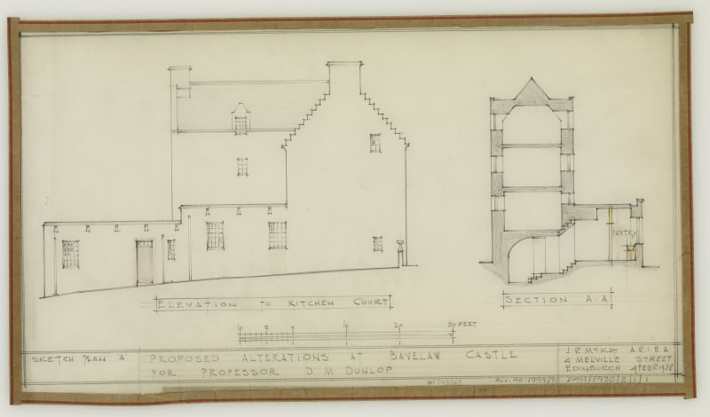 Elevation to Kitchen Court and Section A-A.