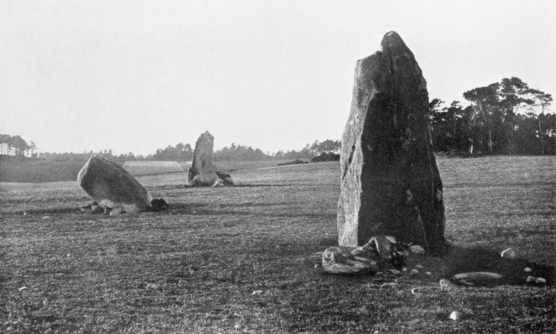 "Photographs of recumbent stone circles at Wester Echt, taken from NE.  Titled: ""Wester Echt: Two Stones and Flanker"". View from E."