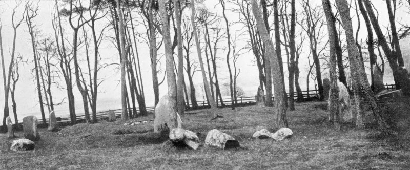 "Photographs of recumbent stone circle at Sunhoney, taken from N. Titled ""The Sin Hinny Circle""."