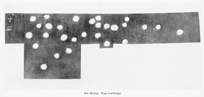 "Photograph of cupmarks on recumbent stone at Sunhoney recumbent stone circle. Titled: ""Sin Hinny. Cup-Markings""."