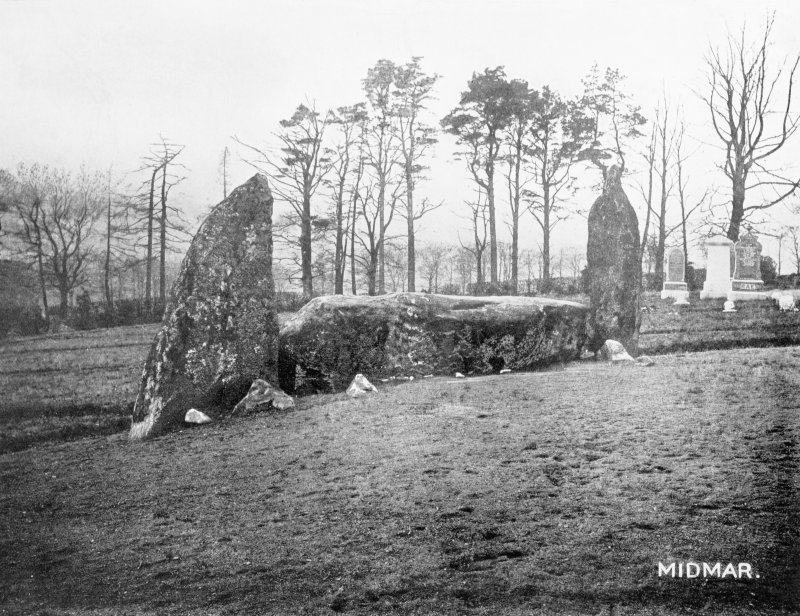 "Photograph of recumbent stone circle at Midmar Kirk, taken from NE. Titled: ""Midmar. Recumbent Stone and Flankers""."