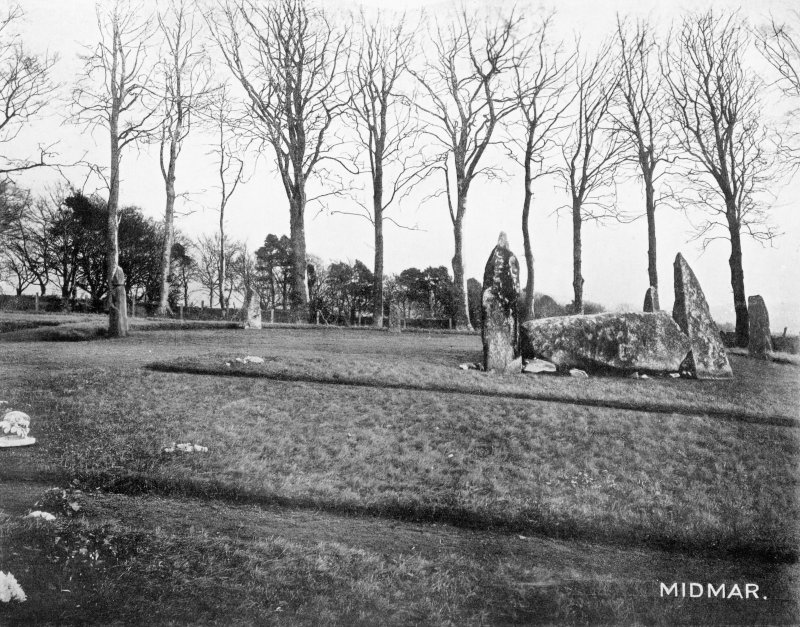 "Photograph of recumbent stone circle at Midmar Kirk, taken from WSW. Titled: ""The Midmar Circle""."