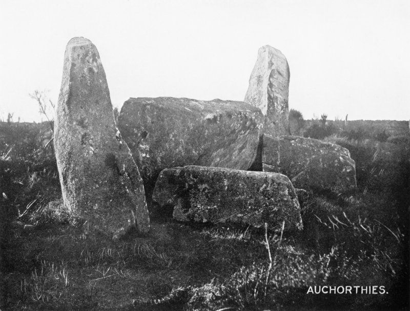 "Photograph of recumbent stone and flankers at Easter Aquhorthies, taken from E. Titled: ""Auquhorthies. Recumbent Stone, Flankers and Props""."