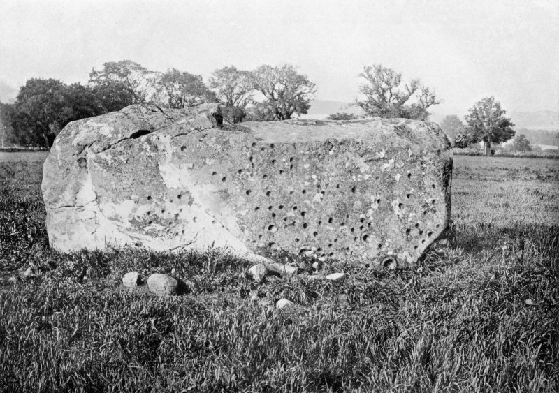 "Photograph of recumbent stone at Rothiemay Stone Circle, taken from SW. Titled: ""Rothiemay. Recumbent Stone, cup marked""."