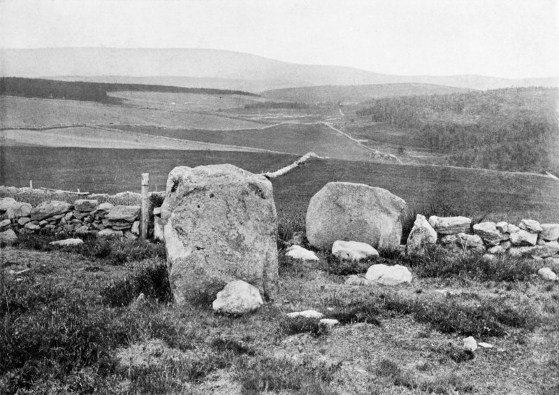 "Photograph of recumbent stone circle at Old Kirk of Tough, taken from NNW. Titled: ""Auld Kirk o' Tough""."