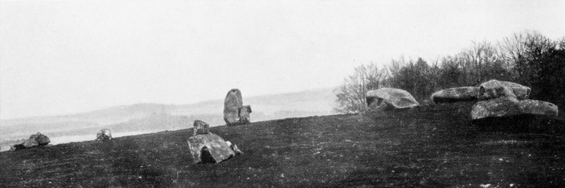 "Photograph of recumbent stone circle at Old Rayne, taken from W. Titled: ""The Old Rayne Circle""."