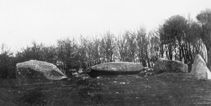 "Photograph of recumbent stone circle at Old Rayne, taken from N. Titled: ""Old Rayne. Recumbent and fallen Flankers""."