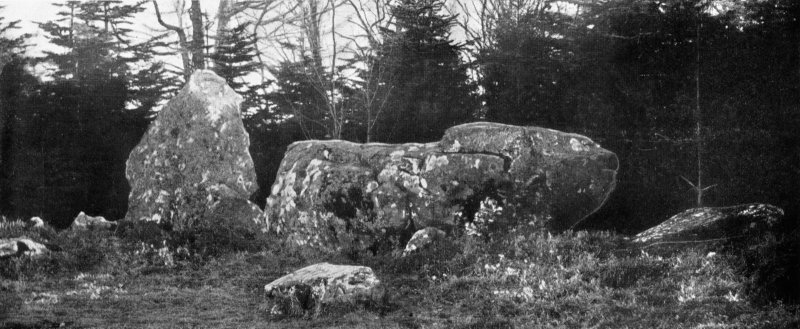"Photograph of recumbent stone circle at Aikey Brae, taken from N. Titled: ""Aikey Brae. Recumbent Stone and Flankers""."