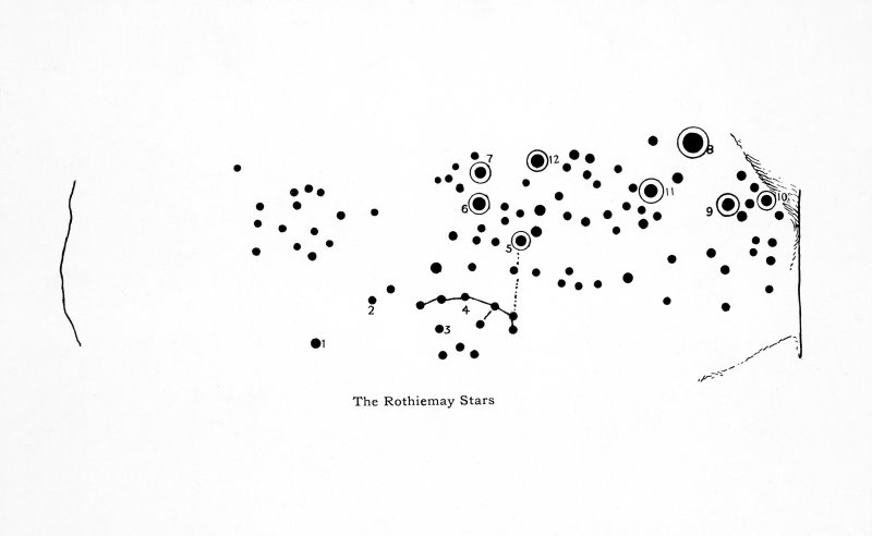 "Drawing of cup-and-ring marks on recumbent stone at Rothiemay recumbent stone circle.  Titled: ""The Rothiemay Stars""."