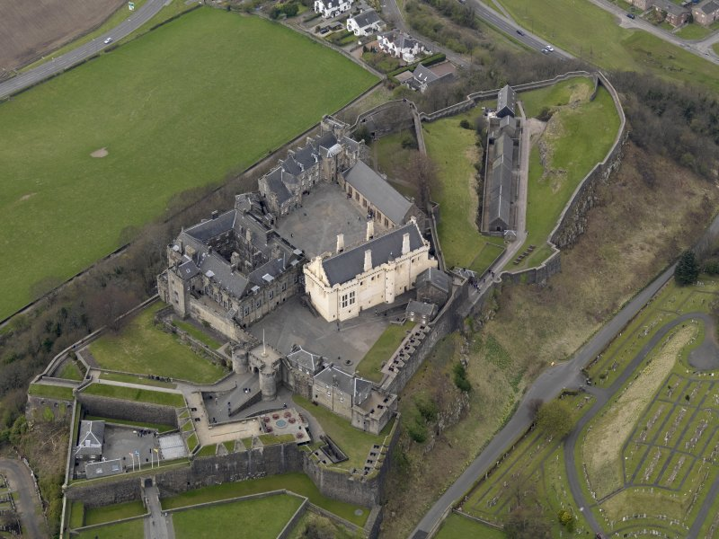 Oblique aerial view centred on the castle, taken from the ESE.