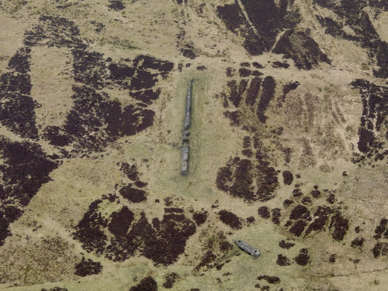 Oblique aerial view centred on the 'Atlantic Wall' with Tobruk' turret bunker adjacent, taken from the NE.