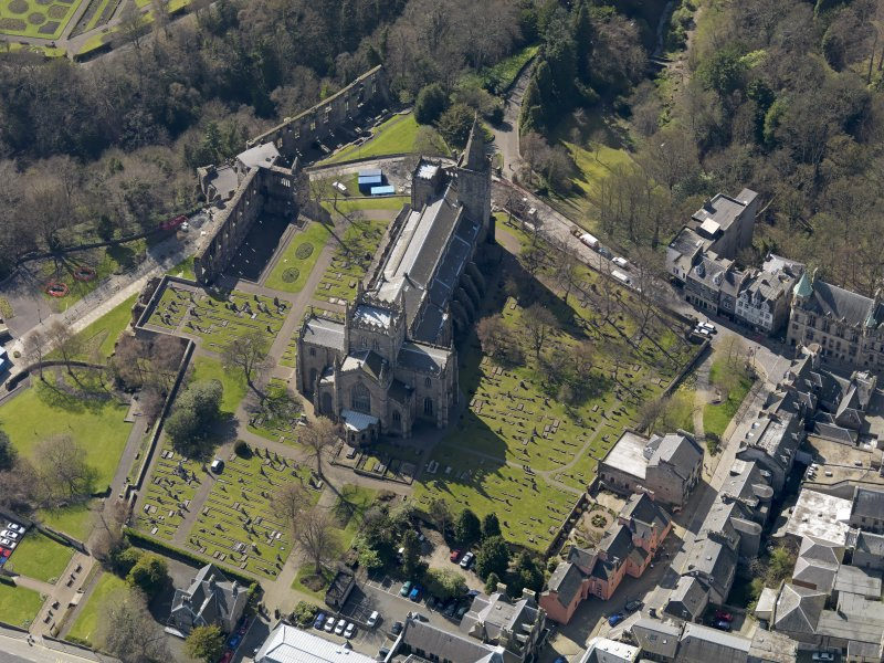 Oblique aerial view centred on the Abbey with the Abbey Precinct adjacent, taken from the E.