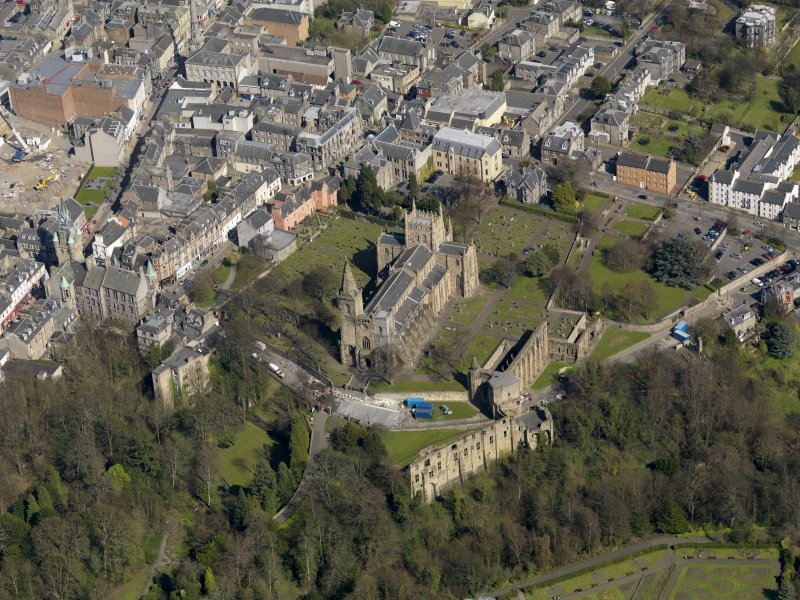 Oblique aerial view centred on the Abbey with the Abbey Precinct adjacent, taken from the WSW.