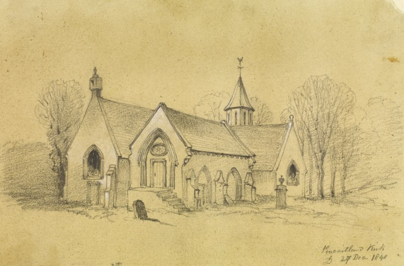 Drawing of Pencaitland Church.