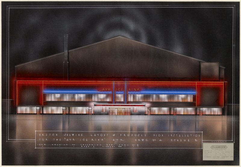 Drawing of proposed external lighting scheme for Ayr Ice Rink.