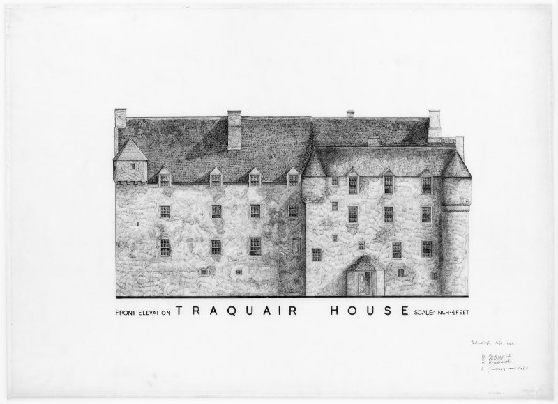 Digital copy of front elevation of Traquair House.