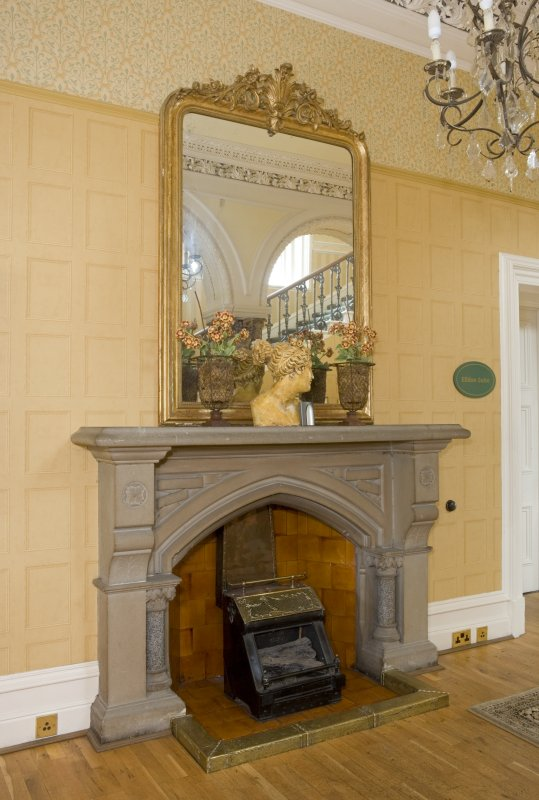 Interior. Ground floor. Main entrance hall. Fireplace. Detail