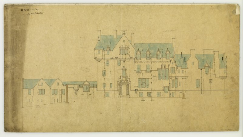 Architectural drawing of the North elevation of The Glen, the Scottish Borders.