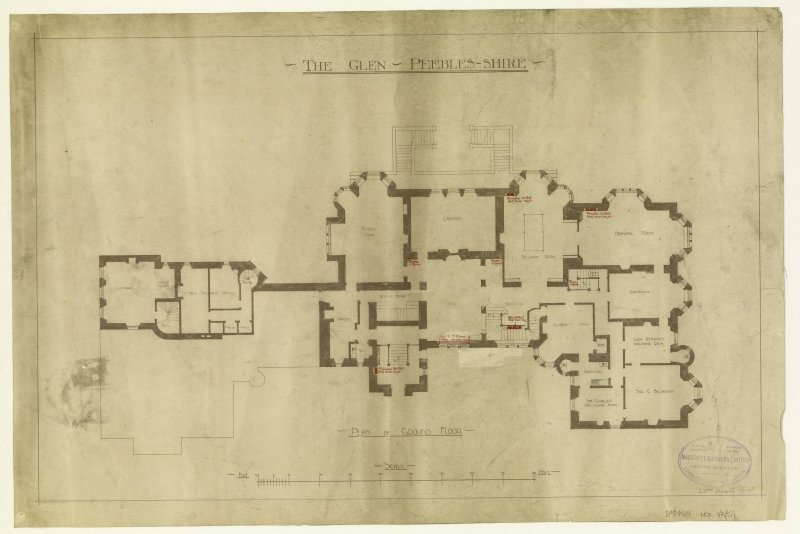 Plan of ground floor showing details of heating.