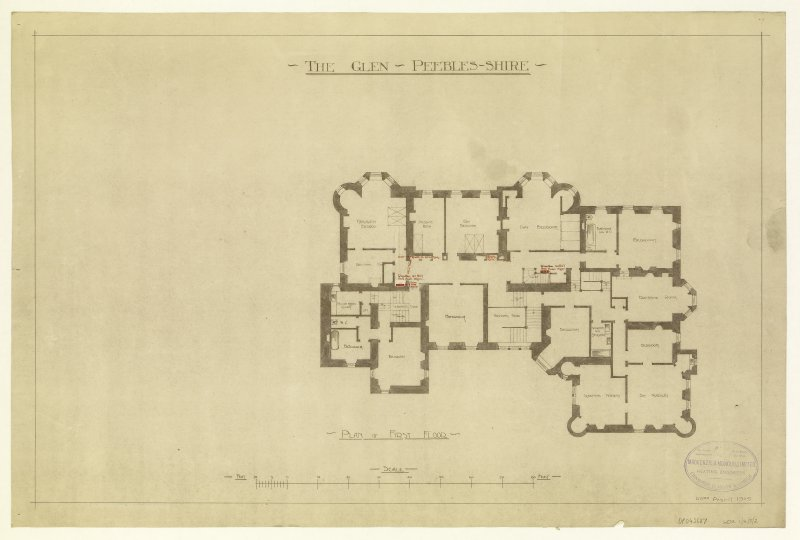 Plan of first floor showing details of heating.