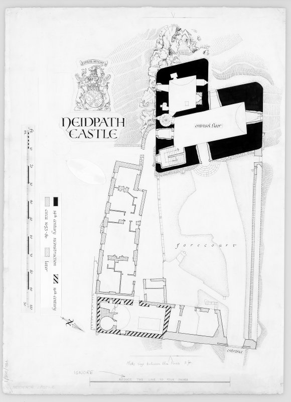 Neidpath Castle Digital copy of plan of forecourt and entresol.