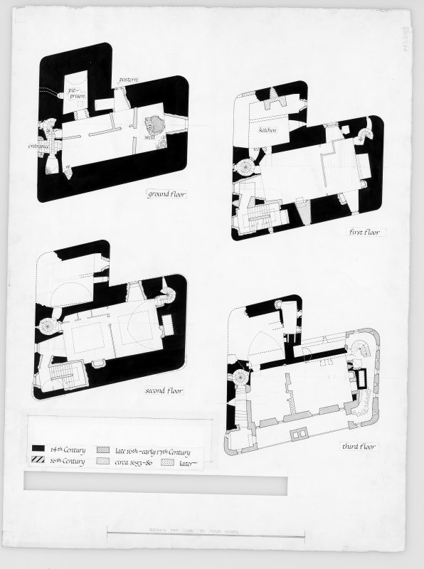 Neidpath Castle Digital copy of ground, first, second and third floor plans.