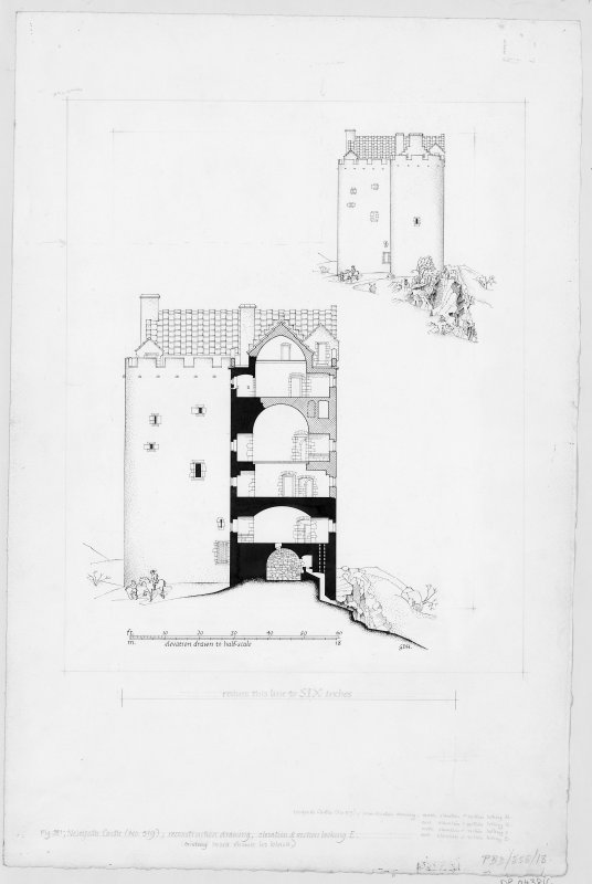 Neidpath Castle Digital copy of reconstruction drawing, elevation and section looking East.