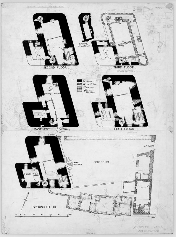 Neidpath Castle Digital copy of draft plan, forecourt and basement to third floor plans.