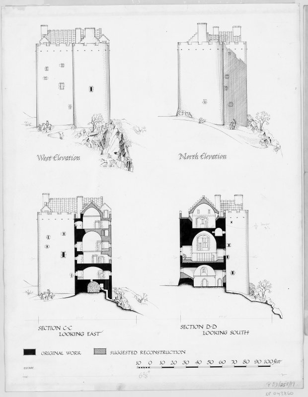 Neidpath Castle Digital copy of west elevation and section looking East and North elevation and section looking South