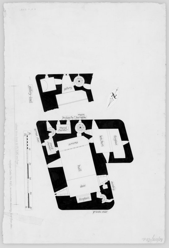 Neidpath Castle Reconstruction drawing: first floor plan.