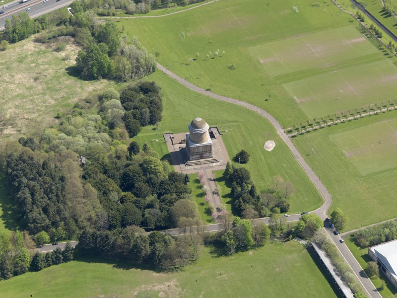 Oblique aerial view centred on the mausoleum, taken from the W.