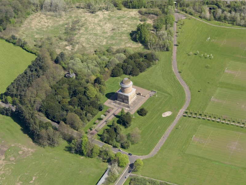 Oblique aerial view centred on the mausoleum, taken from the SW.