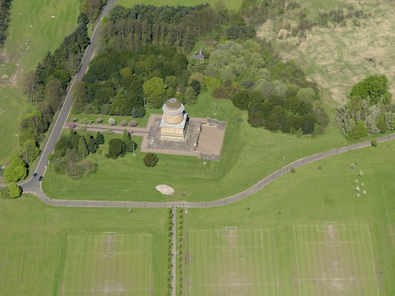 Oblique aerial view centred on the mausoleum, taken from the SSE.