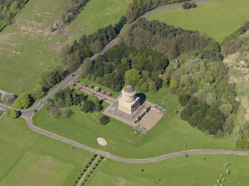 Oblique aerial view centred on the mausoleum, taken from the SE.