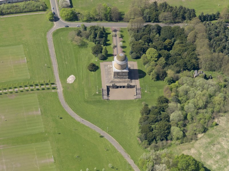 Oblique aerial view centred on the mausoleum, taken from the E.