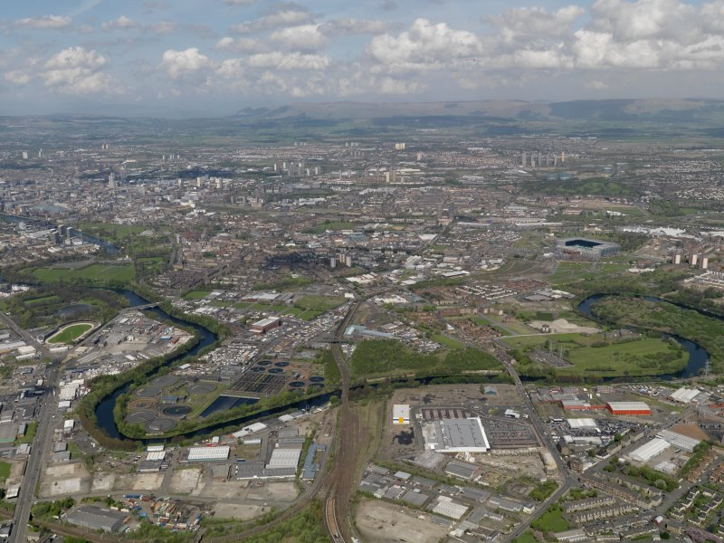 Oblique aerial view centred on  the Dalmarnock-Dalbeth- Carmyle area of Glasgow (future site of the Glasgow 2014 Commonwealth Games), taken from the SE.