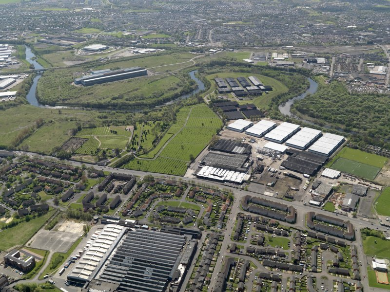 Oblique aerial view centred on  the Dalmarnock-Dalbeth- Carmyle area of Glasgow (future site of the Glasgow 2014 Commonwealth Games), taken from the NNW.