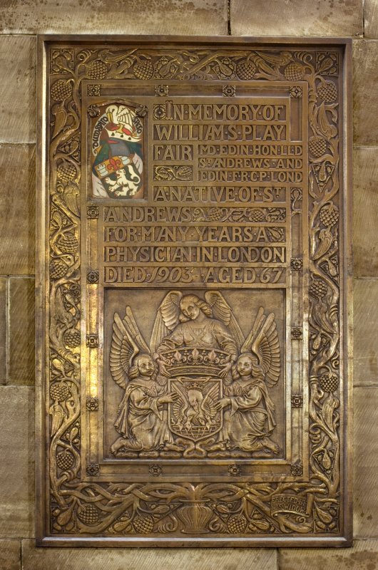Detail of memorial to William Playfair (d.1903) in the Parish Church Of The Holy Trinity, St Andrews.