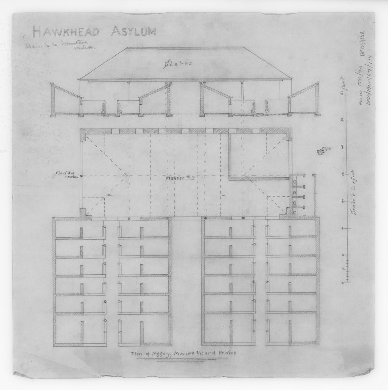 Hawkhead Asylum Plan and elevation of Piggery, Manure Pit and Privies.