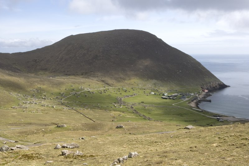 Hirta, Village Bay. Distant view from W, including the Ministry of Defence Establishment, with Oiseval beyond.