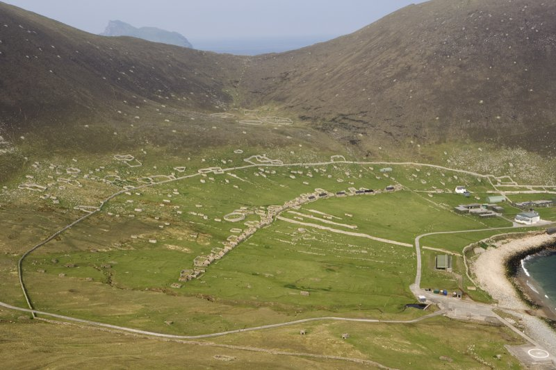 Hirta, Village Bay. General view from SW including the Ministry of Defence Establishment, An Lag and The Gap, with Boreray beyond.
