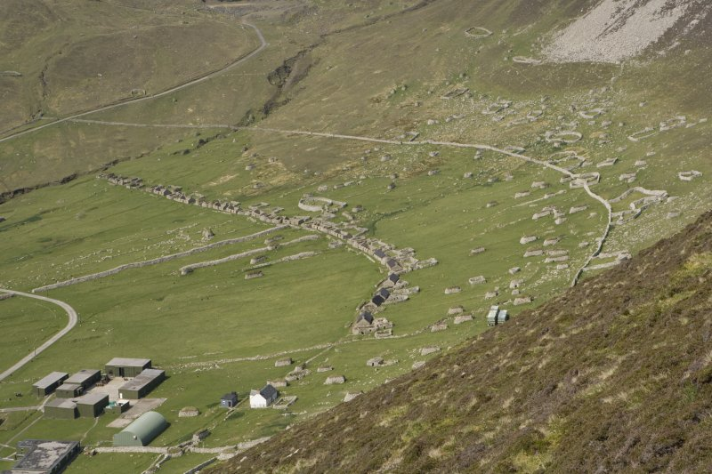Hirta, Village Bay. General view from SE showing the Street, crofts and head dyke, and including the Ministry of Defence Establishment.