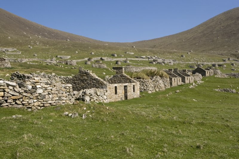 Hirta, Village Bay. View from SW, including houses 11-14 and blackhouses P-S.